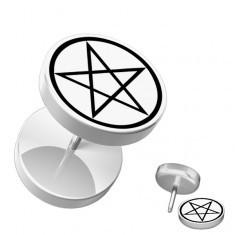 Plug fals pentru ureche, din acrilic - rotund, pentagramă