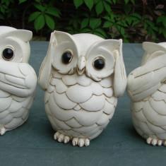 Trei bufnite 'Nu vad, nu aud, nu spun' - Sculptura, Animale, Ipsos, Europa