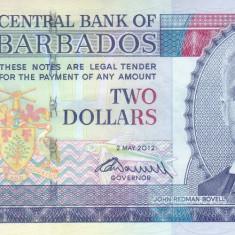 Bancnota Barbados 2 Dolari 2012 - P66c UNC - bancnota america