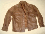 Geaca barbati, piele naturala, model clasic western/vintage/casual, maro, L/XL
