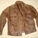 Geaca barbati, piele naturala, model clasic western/vintage/casual, maro