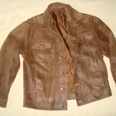 Geaca barbati, piele naturala, model clasic western/vintage/casual, maro, Marime: L/XL