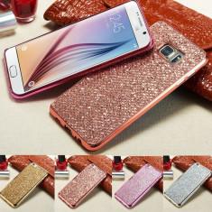 Husa silicon PREMIUM cu sclipici pentru Samsung Galaxy S6 / S6 edge - Husa Telefon, Auriu