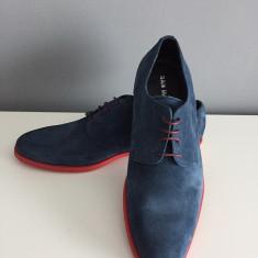 Pantofi PIELE NATURALA intoarsa albastru, marimi 40-45 - Pantofi barbat, Marime: 42, 43, 44, Piele intoarsa
