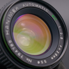 Obiectiv manual Hanimex 28mm 2.8 montura Pentax K - Obiectiv DSLR Pentax, Wide (grandangular), Manual focus