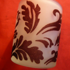 Pahar din sticla stratificata cu motive florale si frunze , h= 6,2 cm