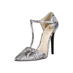 Pantofi dama | V 19.69 CORALIE | Gri-Negru - Pantof dama Versace, Culoare: Din imagine, Marime: 37, 38, Cu toc