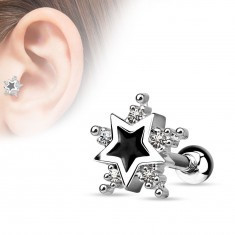 Piercing din oțel, pentru ureche, stea neagră, zirconii transparente - Piercing ureche