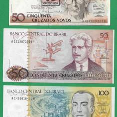 = LOT 0013 - BRAZILIA - 3 BANCNOTE DIFERITE UNC - NECIRCULATE =, An: 2017, America Centrala si de Sud