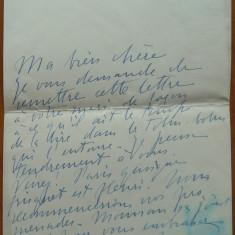 Scrisoare interbelica a Elenei Vacarescu ( Hélène Vacaresco ) catre mama sa - Autograf