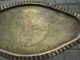 Tava ovala Art Nouveau gravata manual, medalion cu cerb