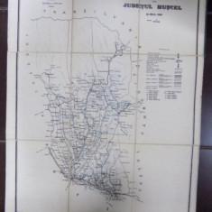 Harta cailor de comunicatie Judetul Muscel, 1908 - Harta Romaniei