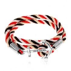 Brățară împletită cu șnur roșu, negru, bej și alb, ancoră strălucitoare - Bratara prieteniei
