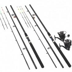 Set 2 Lansete Feeder 3.9m Cu 2 Mulinete FL Feeder Wind 10 Rulmenti - Set pescuit