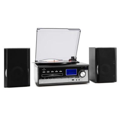 Auna Blackwood, sistem stereo, gramofon, codează USB MP3, CD, casete, FM, AUX foto