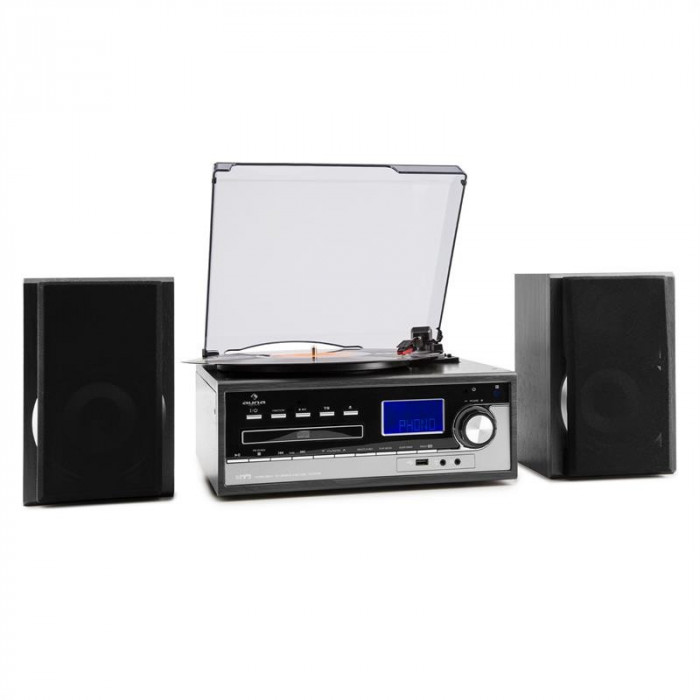 Auna Blackwood, sistem stereo, gramofon, codează USB MP3, CD, casete, FM, AUX foto mare