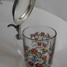 Halba din sticla cu capac din zinc, model floral -C9
