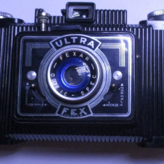 Aparat foto vechi si rar Ultra Fex obiectiv colapsabil pliabil anii 40 bachelita - Aparat de Colectie