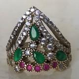 Inel argint 925 cu Rubin, Smarald, marime 9