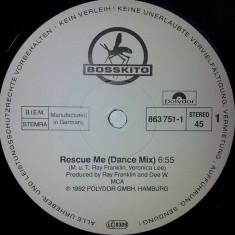 Bosskito - Rescue Me (1992, Polydor) disc vinil Maxi Single house - Muzica House