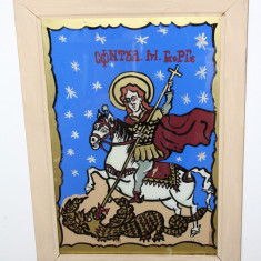 Icoana pe sticla - Sfantul Gheorghe; Tablou cu rama din lemn