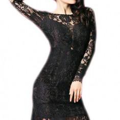 L345-1 Rochie eleganta medie, cu maneci lungi din dantela si spatele gol - Rochie de seara, Marime: S/M, Negru, Midi