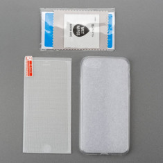 Set folie sticla husa suport ventilatie Huawei Honor 8 Lite - Husa Telefon Huawei, Transparent, Silicon, Fara snur, Carcasa