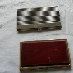 Suport carti de vizita placat suflat cu aur din metal si lemn - Portofel Barbati