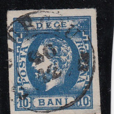 ROMANIA 1872, CAROL I CU BARBA 10 BANI ALBASTRU POINCON HEIMBUCHLER, STAMP. - Timbre Romania, Stampilat