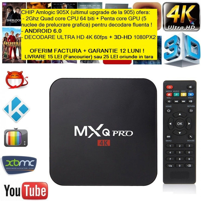 Media player MXQ Pro 4K Amlogic S905X  QuadCore  Android 6.0 fara telecomanda
