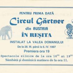Fluturas Circul Gartner din Austria la Resita in 1997 - Reclama Tiparita
