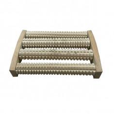 Aparat de masaj din lemn cu 4 role 26 x 18 cm - Echipament de masaj