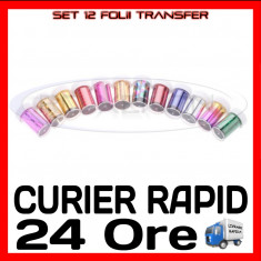 SET 12 FOLII TRANSFER - MANICHIURA UNGHII FALSE GEL UV - PRET MINIM - Model unghii Sina