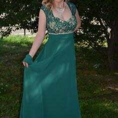 Rochie lunga, de ocazie, din voal verde, cu insertie de dantela (Culoare: VERDE, Marime: 42) - Rochie ocazie, Maxi