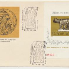 RFL ROMANIA 1975 FDC Anul ocrotirii monumentelor colita nedantelata Lupoaica, Romania de la 1950, Istorie