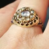 Antic -Victorian-Era-Rose-Cut-Diamond-albastru email, total-ct-0-70-aprox. - Inel diamant, Carataj aur: 14k, Culoare: Galben