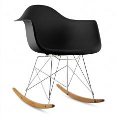 ONECONCEPT AUREL, negru, scaun balansoar, retro, scaun PP, lemn de mesteacăn - Scaun living