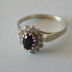 Inel argint cu safir si zirconii -2101