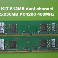 Memorie RAM PC DDR2 512MB KIT (2x256MB) PC4200 533MHz Kingston, 400 mhz, Dual channel