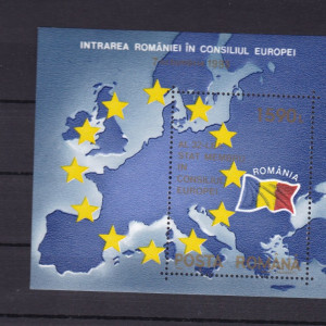 ROMANIA 1993 LP1327 INTRAREA ROMANIEI IN CONSILIUL EUROPEI  COLITA DANTELATA MNH
