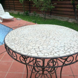 Masa din fier forjat cu mozaic - Masa gradina