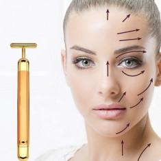 Aparat lifting facial, 24 K Beauty Bar, impotriva ridurilor cu vibromasaj