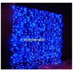 Perdea Luminoasa Craciun Exterior 3x3m 300LED Albastra Fir Incolor CL - Instalatie electrica Craciun