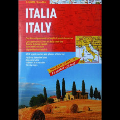 HARTĂ PLIANTĂ - ITALIA + PLANURI ORAȘE- MARCO POLO - SCARA 1 : 800.000 - NOUĂ! - Harta Italiei
