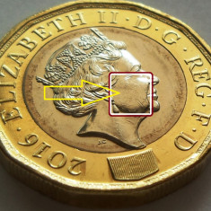 Moneda 1 Pound (Lira Sterlina) - ANGLIA, anul 2016 *cod 857 UNC RIDURI REGINA, Europa