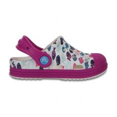 Saboti pentru copii Crocs Bump It Graphic Clog White/Vibrant Violet (CRC204126-172) - Papuci copii Crocs, Marime: 25.5, Culoare: Alb, Fete