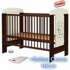 Patut din lemn fara sertar Carolin Ursulet + Saltea - Patut lemn pentru bebelusi Hubners