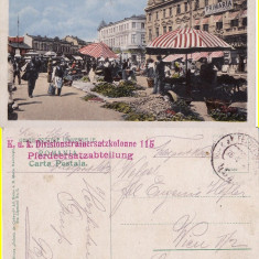Salutari din Ploiesti (Prahova)- Piata-cenzura WWI, WK1 - Carte Postala Muntenia 1904-1918, Circulata, Printata