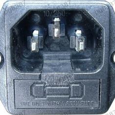 Mufa alimentare calculator, tata, cu soclu siguranta, IEC 60320 - 125320