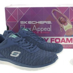 Adidasi fitness original SKECHERS Eye Catcher Flex Appeal Navy 2017 marime 41 - Adidasi dama Skechers, Culoare: Albastru